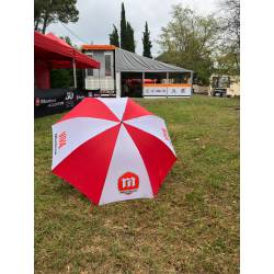 Umbrella ofical Montesa Logos Viva Montesa, red and white color.