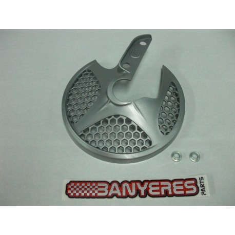 Protector disc davanter original Montesa 4RT color plata, amb casquillos