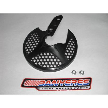 Black plastic front disc protector with Montesa logo for Tech ho Showa fork.