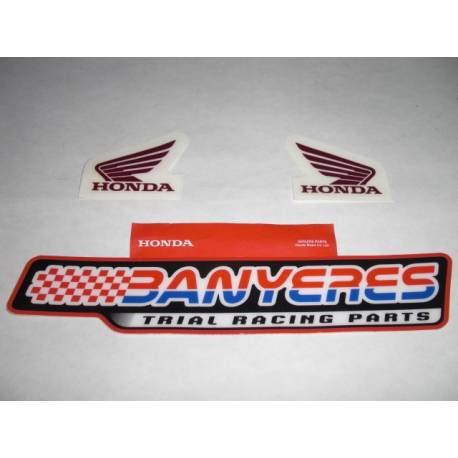 Stickers réservoir carburant Honda wing grenat couleur HRC d'origine.