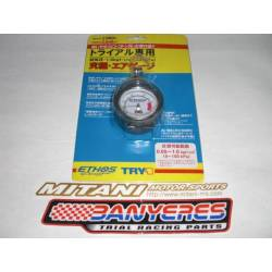 Small Ethos wheel pressure gauge with push button, Made in Japan.