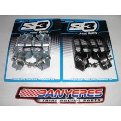 S3 Parts universal trial footrests material steel complete kit springs and screws option colors black - silver.