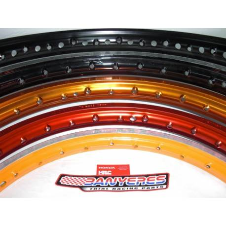 Front wheel 32 DID Japan color black-red-gold-blue-orange and black painted silver rim.