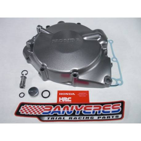 Complete induction flywheel cover in original silver Honda for Montesa Cota 4RT and 4Ride, with gasket, cap and valve.