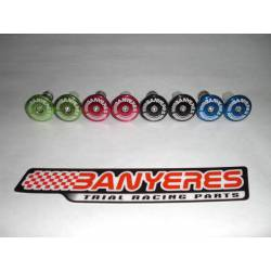 Aluminum handlebar caps, centering on the gas colors black, red, blue and green.